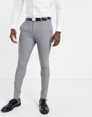 Selected skinny fit suit pants in gray