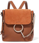 Chloé Faye Small Textured-leather And Suede Backpack - Tan