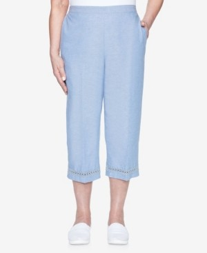 Alfred Dunner Plus Size Pull On Chambray Capri with Lace Trim