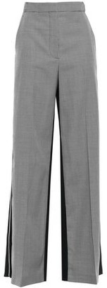 Stella McCartney Paneled Houndstooth Wool And Canvas Wide-leg Pants
