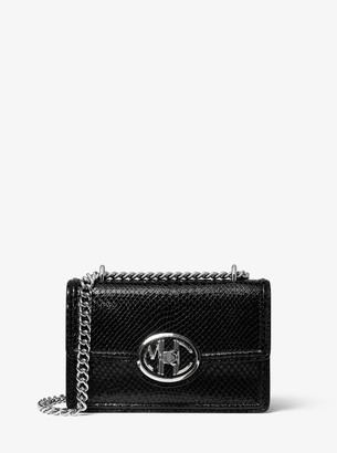 Michael Kors Monogramme Mini Python Embossed Leather Chain Shoulder Bag
