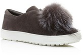 Delman Marli Suede and Marten Fur Pom Pom Sneaker