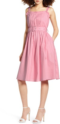 ENGLISH FACTORY Box Pleat Belted Sundress