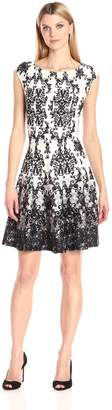 Julian Taylor Women's Chandelier Printed Fit and Flare Cap Sleeved Dress