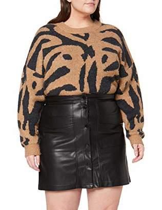 SIMPLY BE Women's Ladies PU Stud Fastening Midi Skirt,(Size:)