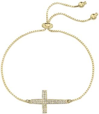 Savvy Cie 18K Yellow Gold Vermeil Pave CZ Cross Bracelet