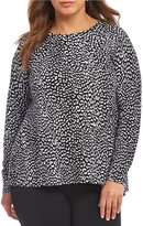 MICHAEL Michael Kors Cut-Away Back Cheetah Print Sweater With Solid Georgette Underlayer
