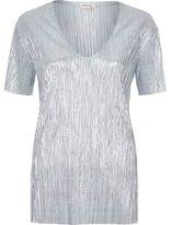 River Island Womens Blue pleated metallic T-shirt