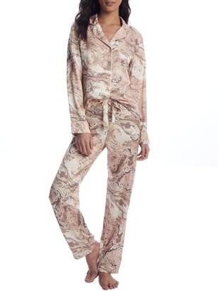 Ginia Marble Collection Silk Pajama Set