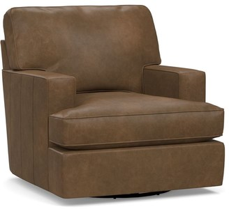 Pottery Barn Buchanan Square Arm Leather Swivel Armchair