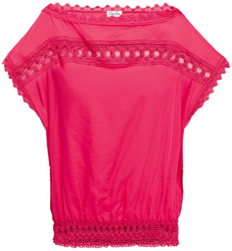 Charo Ruiz Ibiza Crocheted Lace-trimmed Cotton-blend Voile Top