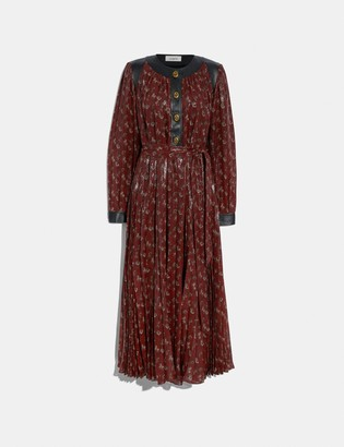 Coach Lurex Horse And Carriage Print Pleated Dress