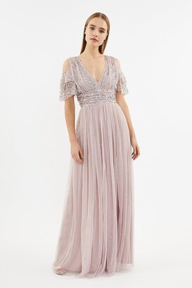 Coast Cold Shoulder Scattered Embellished Maxi Dress