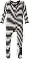 Kickee Pants Print Footie (Baby) - Midnight/Natural Stripe - Newborn