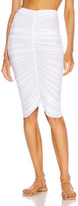 Norma Kamali Shirred Skirt in White | FWRD