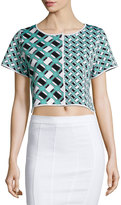 Zac Posen Ines Geometric-Print Crop Top, Lagoon/Black/White