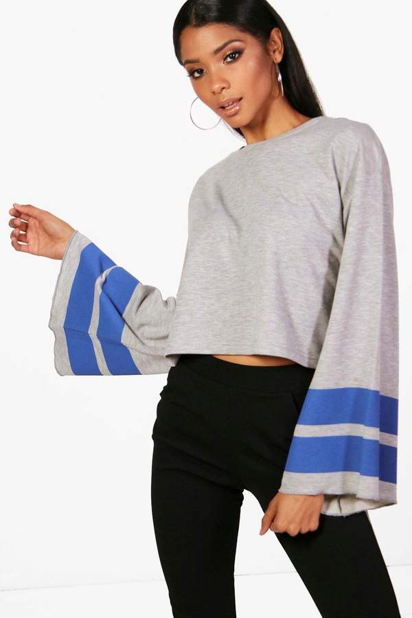 boohoo Sports Stripe Wide Sleeve Sweat