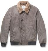Brunello Cucinelli Cashmere-Trimmed Suede Bomber Jacket