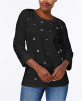 Karen Scott Grommet-Embellished Sweatshirt, Created for Macy's