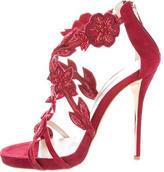 Oscar de la Renta Embellished Suede Sandals