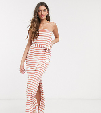 ASOS DESIGN Petite bandeau maxi dress with belt in rose stripe