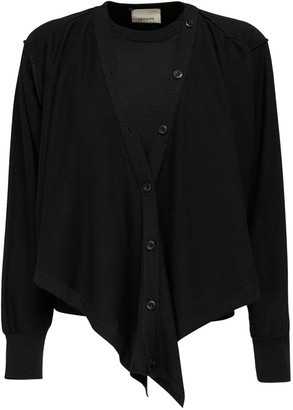 Lemaire Convertible Wool Blend Knit Cardigan