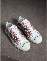 Burberry Doodle Print Coated Cotton Sneakers