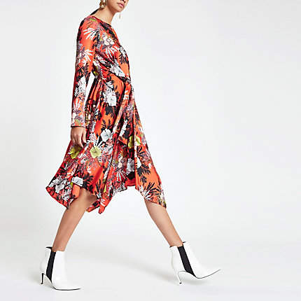 River Island Womens Orange floral print tie waist midi dress