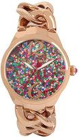 Betsey Johnson Confetti Rose Gold Link Watch