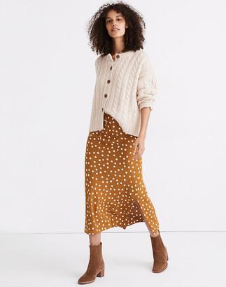 Madewell Drawstring Midi Slip Skirt in Big Dot