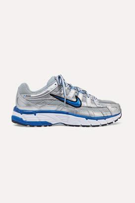 Nike P-6000 Metallic Leather And Mesh Sneakers - Silver