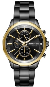 Kenneth Cole New York Men's Multifunction Dual Time Two-Tone plated Stainless Steel Watch on Black plated Stainless Steel Bracelet, 44mm