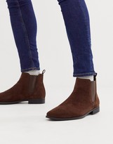 Asos Design DESIGN chelsea boots in brown faux suede