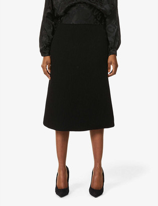 Balenciaga Ribbed stretch-woven midi skirt