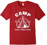 Men's Camp Morning Wood Relax Pitch A Tent Funny T-Shirt Small
