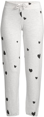 Monrow Cotton-Blend Heart Lounge Pants