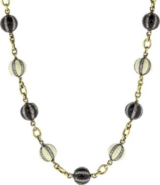 Sylva & Cie Diamond Black and White Enamel Bead Necklace