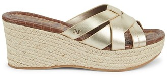 Sam Edelman Romona Leather Espadrille Platform Wedge Slide Sandals