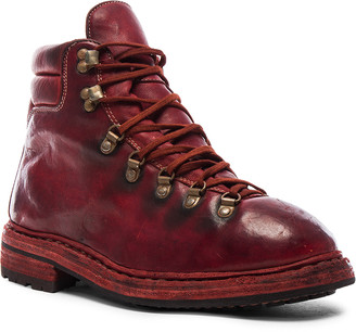 Guidi Lace Up Leather Combat Boots in Red | FWRD