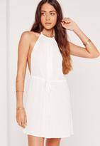 Missguided Halterneck Satin Dress White