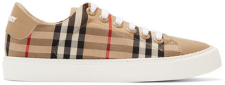 Burberry Beige Leather Monogram Albridge Sneakers