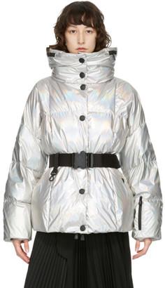 MONCLER GRENOBLE Silver Down Metallic Coat