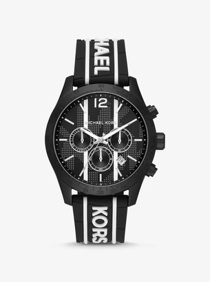 Michael Kors Oversized Layton Black-Tone and Embossed Silicone Watch