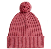 Johnstons of Elgin Heather Cashmere Chunky Ribbed Hat With Pom Pom