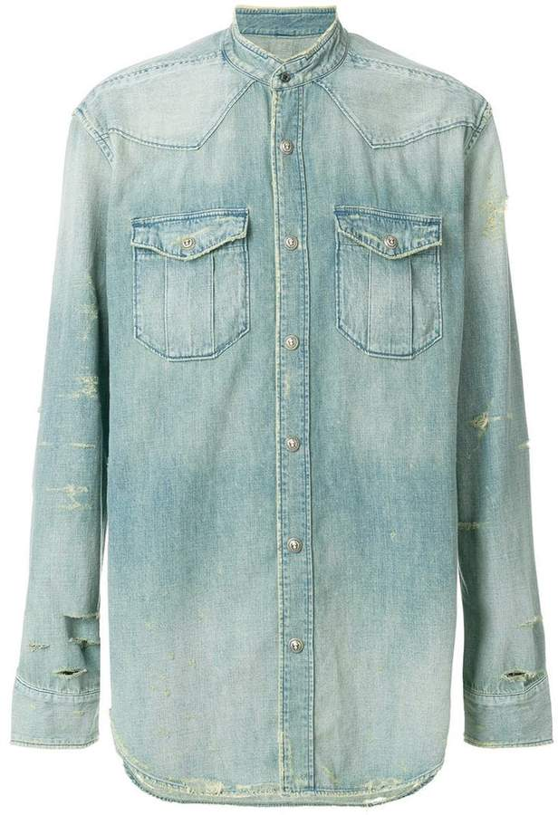 Balmain distressed denim shirt