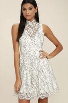 Keepsake Porcelain White Lace Skater Dress