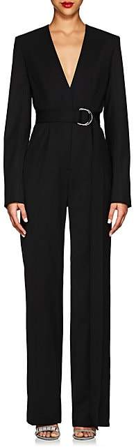 Calvin Klein Women's Virgin Wool-Blend Twill Tuxedo Jumpsuit - Black Dark Navy