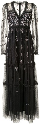 Needle & Thread Sequin Floral Embellished Tulle Dress