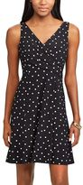 Chaps Petite Polka-Dot Fit & Flare Dress