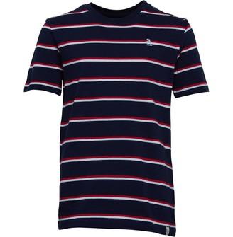 Original Penguin Junior Boys Collegiate Stripe T-Shirt Navy Blazer